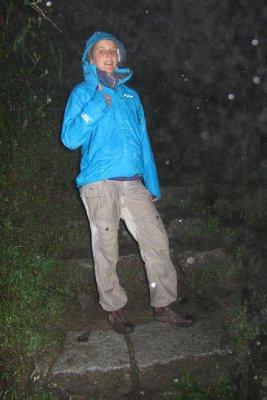 Om 5.00u de berg op. Het regende niet maar het goot!