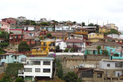 De kleurrijke huizen in Valparaiso