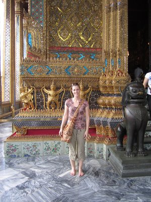 me outside temle with the emerald buddha inside (couldn't take pics inside temple)