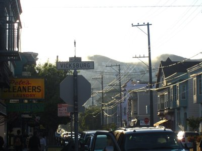 24th street in noe, with twin peaks in the distance