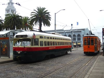 san francisco street cars outside the ferry building