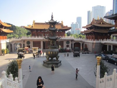 jingan temple, old temple hanging on in a modern city