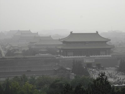 view of forbidden city from jingshan park