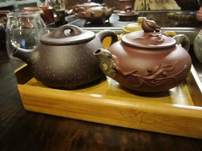 teapots made by hand. she works on one at a time and it takes her about 35 days!