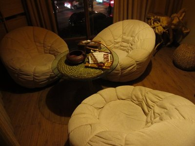 One of the special rooms in the tea house. Most comfy chairs possible.