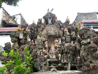 Some fantastic statues in a temple I don't know the name of. Asian garden gnomes perhaps??