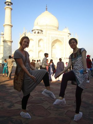 Isabel and I putting on our surgical booties to walk onto the actual Taj.