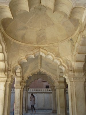 In the Gem Mosque, which was the ladies' mosque, in the Agra Fort