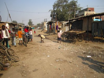 A street in the slum on the way home from school