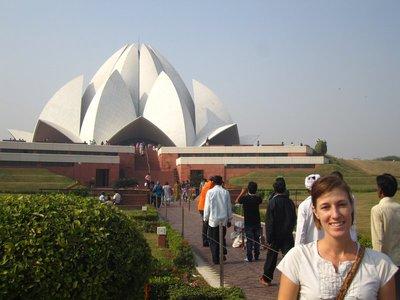 Baha'i Lotus Temple. Guess what? It is shaped like a lotus flower.