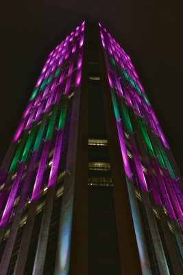 Colpatria Tower is nice to view at night_ It changes colors_ It is also the largest building in Bogot_