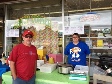 Don and Julie selling hot dogs