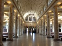 Inside the Utica train station.