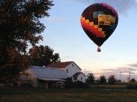 Balloon over campsite.