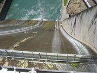 Looking down the spillway