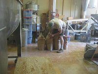 Filling bags of flour