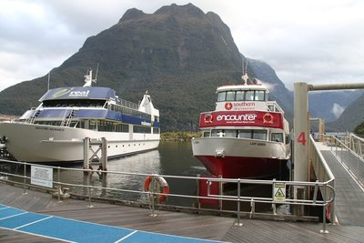 nz (1768) boat park at milford sound