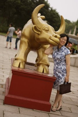 Anna with her Chinese Zodiac sign, the ox