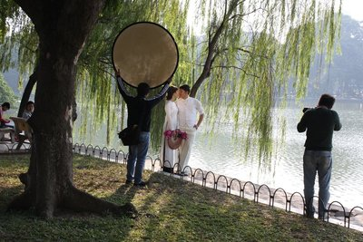 People Getting Wedding Photos at Hoan Kiem Lake
