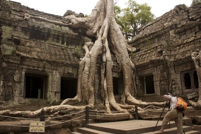 Probably Ta Prohm's most recognizable tree with Julieanne, one of the women from my tour group getting a shot