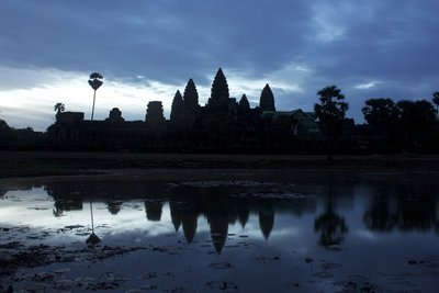 Sunrise at Angkor Wat.  This picture was taken at 5:18am on a 30-second exposure