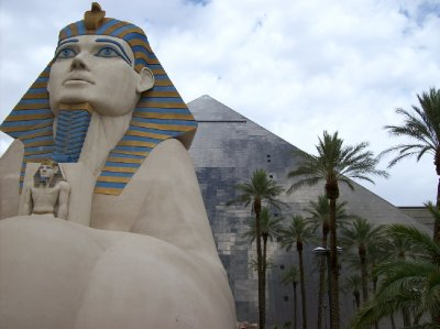 Luxor - our room in the pyramid about where Sphinx's shoulder is