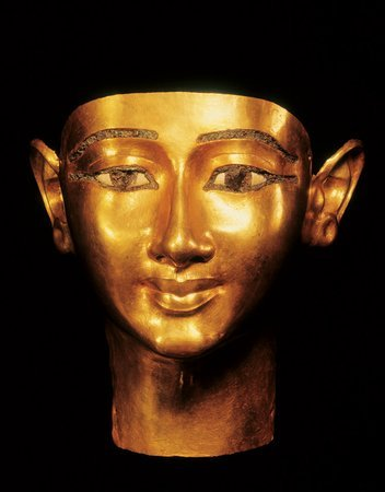 Funerary Mask of Wenudjebauendjed (cq) (detail).1039-991 BCE.  Gold, 8x7x6 in.Credit: The Egyptian Museum, Cairo.