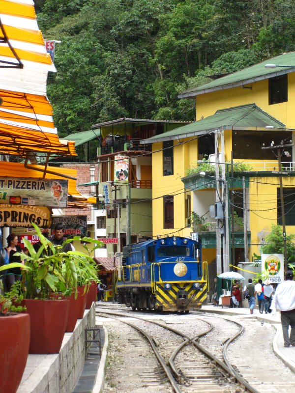 Perurail train at Aguas Calientes