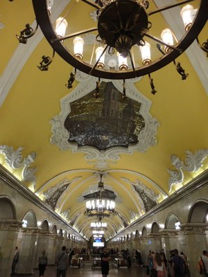 One of the many ornate Metro stations in Moscow