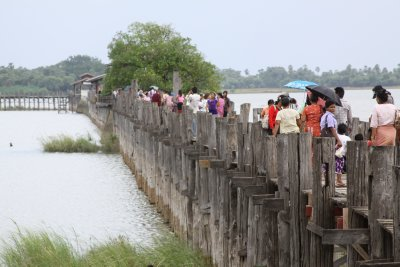 Our first sight of the U Bein bridge