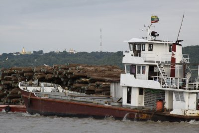 A barge loaded with Teak logs passes up the river