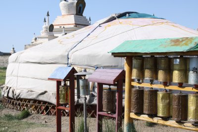 Prayer wheels and the Ger monastery shop