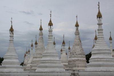 A mass of white stupas