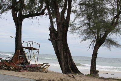 Sihanoukville beach on an overcast day