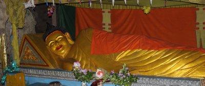 Reclining Buddha inside the Killing Cave
