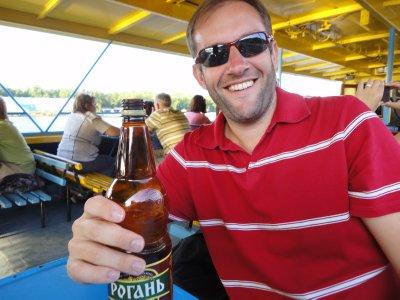 James enjoys the local brew - 6.9%