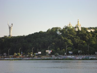 Dormition Cathedral and 'Iron Tits' from the Dnipro river