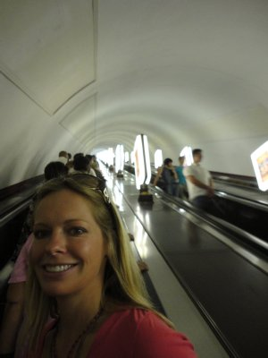 Riding the Metro escalator