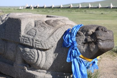 13th century stone turtle marks the location of the original city