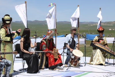 A local orchestra helps set the mood in the Cultural Village