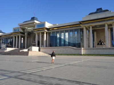 All alone outside the Mongolian parliament building