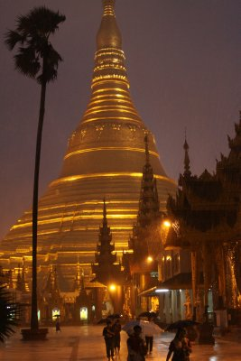 Shwedagon Paya was deserted but awe inspiring in the monsoon rain