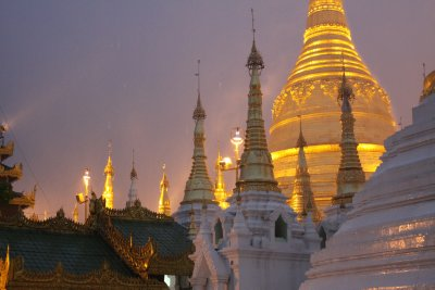 Shwedagon Paya looks atmospheric in the rain