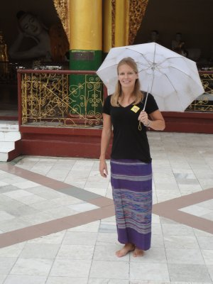 Exploring Shwedagon Paya in traditional longyi