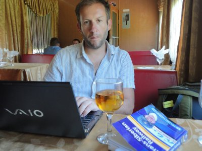 In the restaurant car, blogging