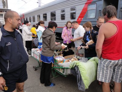Babushkas sell food on drink on nearly every platform