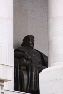 The great Chinggis. A modern statue. No mounments of the great Khan were commissioned during his lifetime