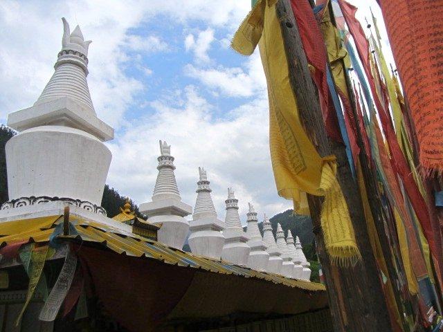 Tibetan Prayer Wheels, Flags, Stupas