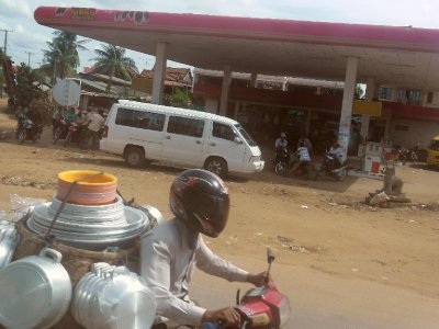 Typical Petrol Station Scene in Cambodia