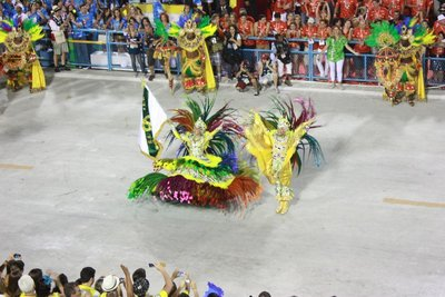 Flying the samba school flag, Sambadrome, Rio de Janeiro